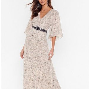 Nasty Gal Floral Flutter Maxi Dress in Beige - 4